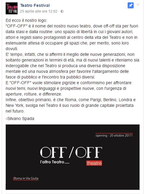 Teatro OFF/OFF Roma, l'annuncio sulle pagine Facebook