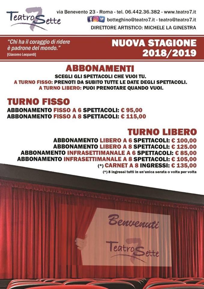 Locandina Teatro Sette Roma Stagione 2018 - 2019