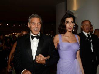 Red_carpet biennale Venezia George Clooney e Amal Alamuddin foto ASAC
