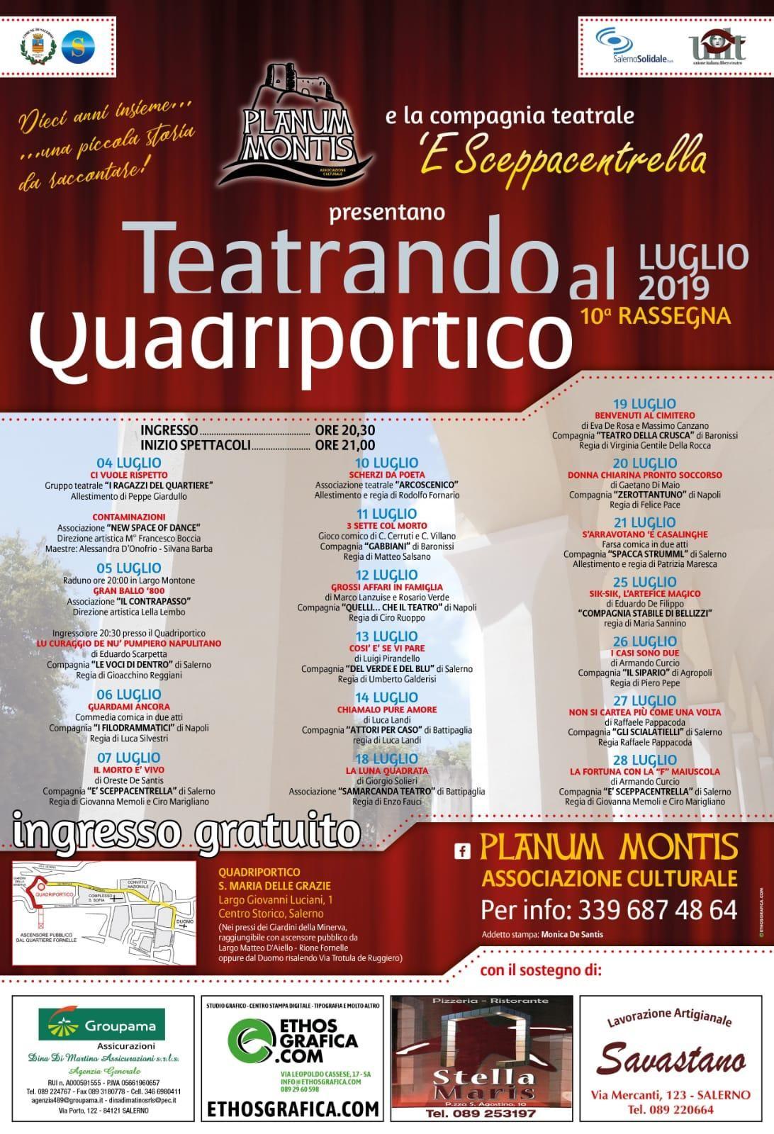Teatrando Quadriportico, Salerno : il tabellone