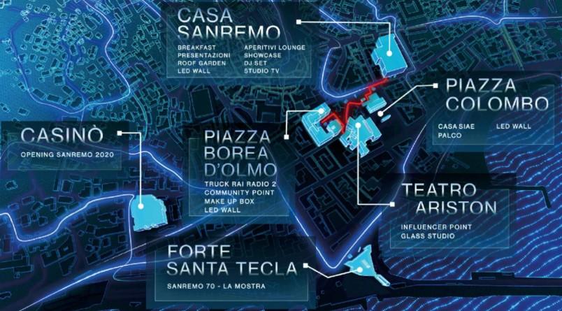 Mappa dei luoghi del festival di Sanremo